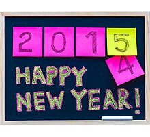 Happy New Year 2015 message hand written on blackboard Photographic Print