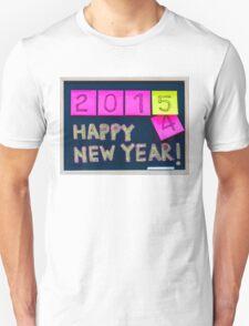 Happy New Year 2015 message hand written on blackboard T-Shirt