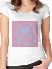 Oriental Flower - Serenity Blue and Strawberry Women's Fitted Scoop T-Shirt