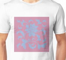 Oriental Flower - Serenity Blue and Strawberry Unisex T-Shirt