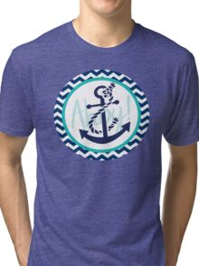 AHOY Anchor Nautical Design Navy Blue and White Chevron with Teal Green  Tri-blend T-Shirt
