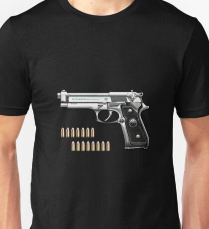 Beretta 92FS Inox over Black Velvet Unisex T-Shirt