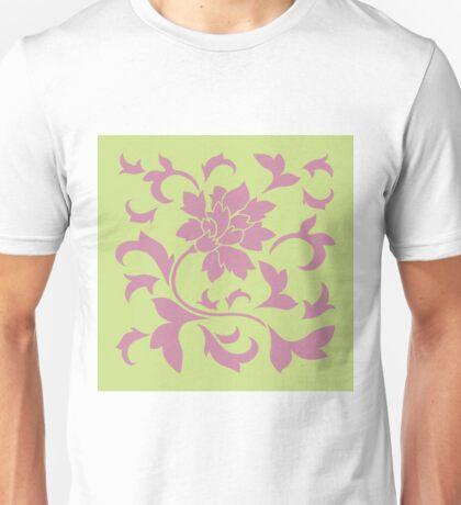Oriental Flower - Strawberry and Daiquiri Green-Lime Unisex T-Shirt