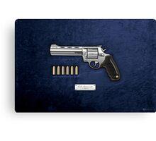 .44 Magnum Colt Anaconda with Ammo on Blue Velvet  Canvas Print