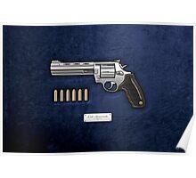 .44 Magnum Colt Anaconda with Ammo on Blue Velvet  Poster