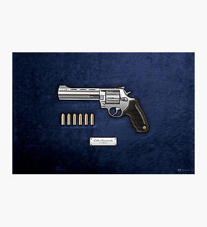 .44 Magnum Colt Anaconda with Ammo on Blue Velvet  Photographic Print