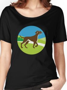 Dog Pointing Up Circle Retro Women's Relaxed Fit T-Shirt