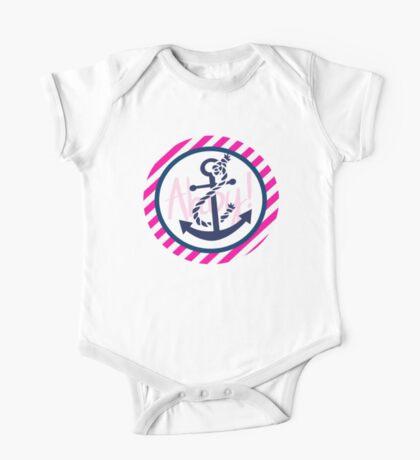 AHOY Anchor - Blue White Pink Stripes Nautical Design One Piece - Short Sleeve
