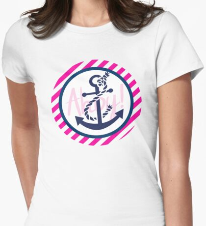 AHOY Anchor - Blue White Pink Stripes Nautical Design Womens Fitted T-Shirt
