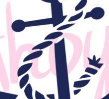 AHOY Anchor - Blue White Pink Stripes Nautical Design Sticker