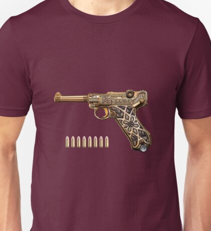 Krieghoff Presentation P.08 Luger with Ammo over Red Velvet  Unisex T-Shirt