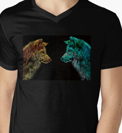 Wolves - Day and Night Mens V-Neck T-Shirt