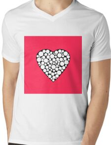 Heart with polka dots . The red background .  Mens V-Neck T-Shirt