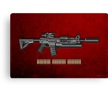 Colt M4A1 SOPMOD Carbine with 5.56 NATO Rounds on Red Velvet  Canvas Print