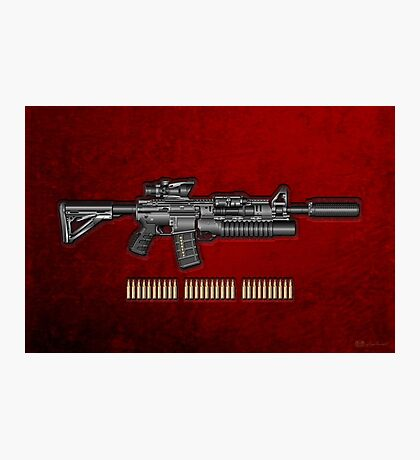 Colt M4A1 SOPMOD Carbine with 5.56 NATO Rounds on Red Velvet  Photographic Print
