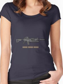 Colt M4A1 SOPMOD Carbine with 5.56×45mm NATO Rounds on Gray Polyurethane Foam Women's Fitted Scoop T-Shirt