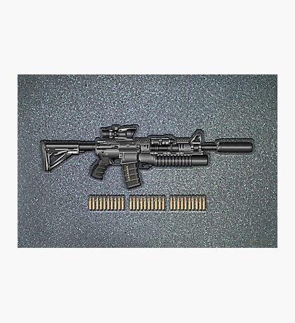 Colt M4A1 SOPMOD Carbine with 5.56×45mm NATO Rounds on Gray Polyurethane Foam Photographic Print