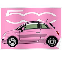 New Fiat 500 pink Poster