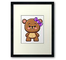 Brown Bear Girl Kawaii Framed Print