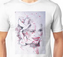 Woman and doves watercolor painting Unisex T-Shirt