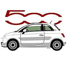 New Fiat 500 white Photographic Print