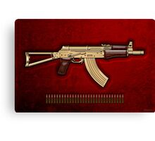 Gold AKS-74U Assault Rifle with 5.45x39 Rounds over Red Velvet   Canvas Print