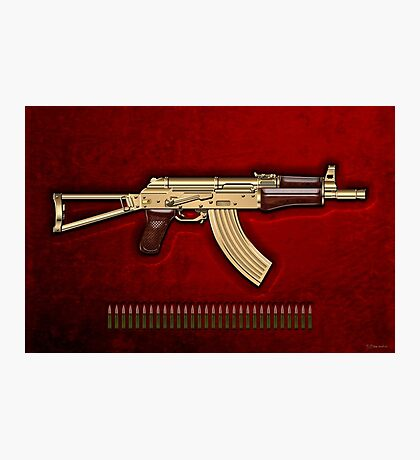 Gold AKS-74U Assault Rifle with 5.45x39 Rounds over Red Velvet   Photographic Print