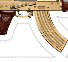 Gold AKS-74U Assault Rifle with 5.45x39 Rounds over Red Velvet   Sticker