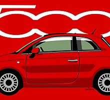 New Fiat 500 red by car2oonz