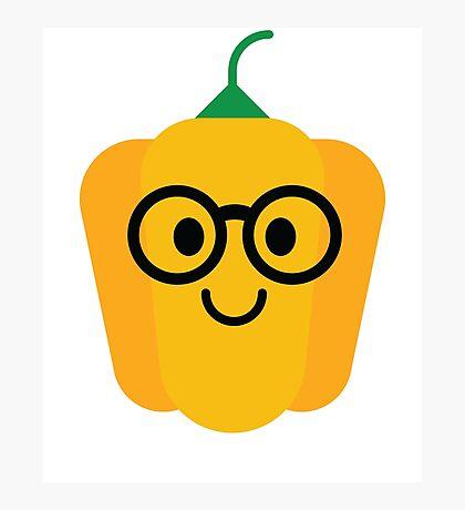 Bell Pepper Emoji Nerd Noob Glasses Photographic Print
