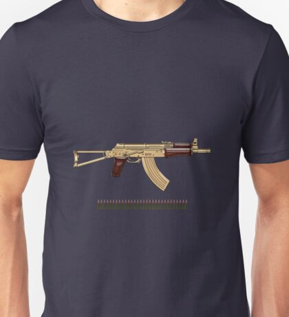 Gold AKS-74U Assault Rifle with 5.45x39 Rounds over Blue Velvet Unisex T-Shirt