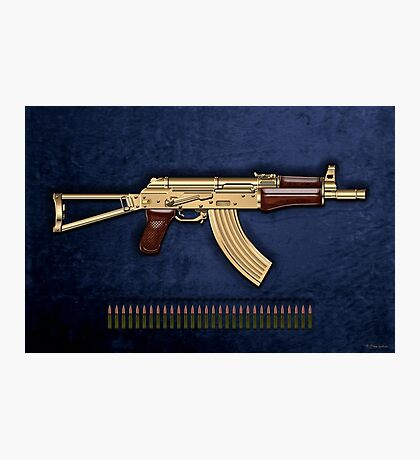 Gold AKS-74U Assault Rifle with 5.45x39 Rounds over Blue Velvet Photographic Print