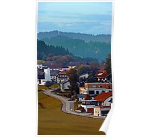 Autumn season village panorama | landscape photography Poster