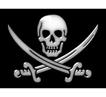Glassy Pirate Skull & Sword Crossbones  Photographic Print