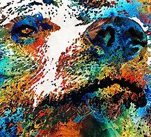 Colorful Bear Art - Bear Stare - By Sharon Cummings by Sharon Cummings
