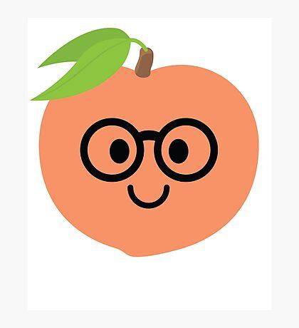 Peach Emoji Nerd Noob Glasses Photographic Print