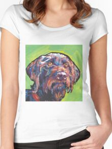 German Wirehaired Pointer Bright colorful pop dog art Women's Fitted Scoop T-Shirt