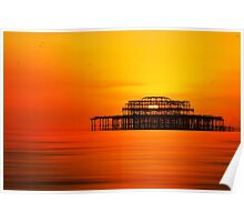 Sunset over West Pier, Brighton. Poster
