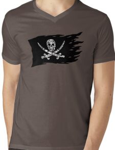Digital Pirate Jolly Roger Mens V-Neck T-Shirt