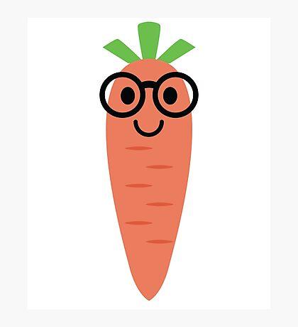 Carrot Emoji Nerd Noob Glasses Photographic Print