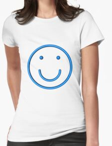 stylized blue lined smiling face Womens Fitted T-Shirt