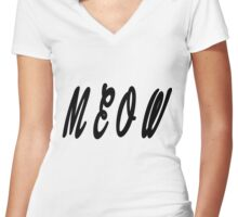 Meow Women's Fitted V-Neck T-Shirt