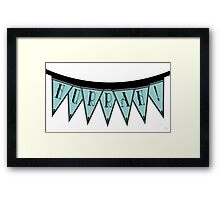 Manhattan 1920s Deco Blues Banner… HURRAH! Framed Print