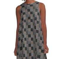 Rustic Black and Tan Patchwork A-Line Dress