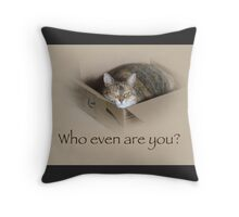 Who Even Are You - Lily the Cat Throw Pillow