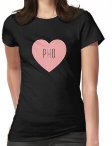 I Love Pho Heart | Soup | Noodle Noodles| Hearts Print Womens Fitted T-Shirt