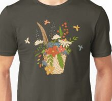 Basket with a bouquet of flowers, seamless background Unisex T-Shirt