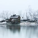 Water mill on the frosted trees in Jelka by Zoltán Duray