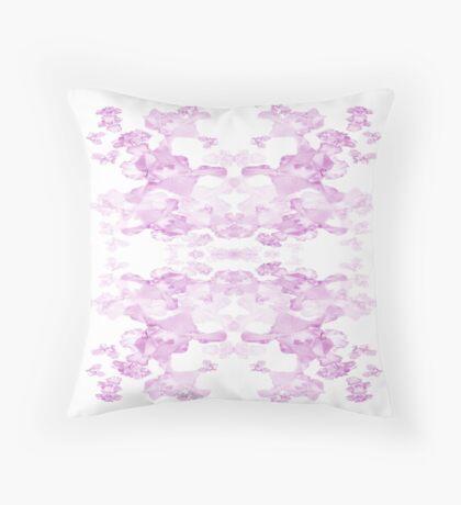 Iris Print, Pink on white Throw Pillow
