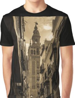 Seville - The Giralda in Sepia Tones Graphic T-Shirt